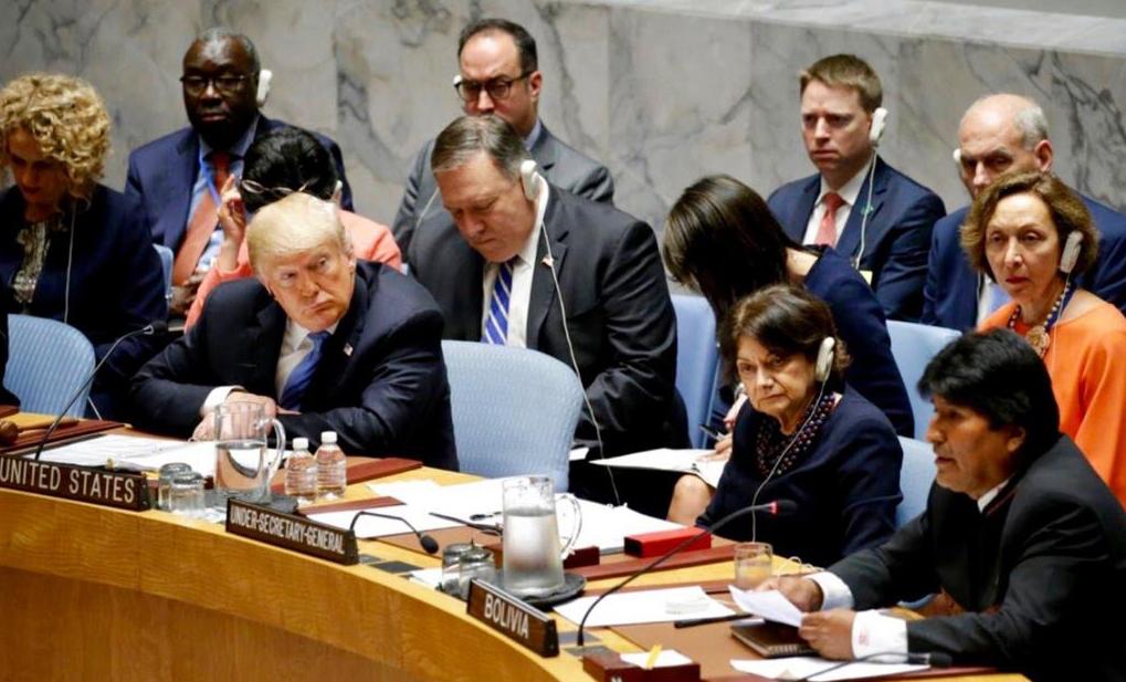 Morales estuvo sentado a pocos metros de Morales en el Consejo de Seguridad. Foto: Reuters